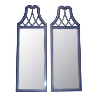 Vintage Blue Wooden Mirrors - a Pair For Sale