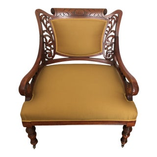 Late 19th Century Victorian Eastlake Carved Cherry Accent Side Arm Chair For Sale