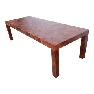 Milo Baughman for Thayer Coggin Patchwork Burl Wood Extension Dining Table, Newly Refinished For Sale