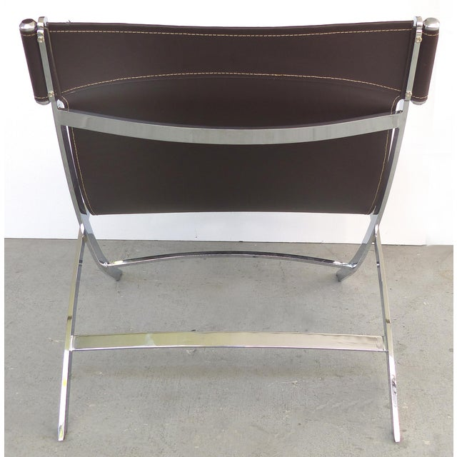 Animal Skin Paul Tuttle, Antonio Citterio for Flexform Italia Scissor Chairs in Stainless Steel & Leather-A Pair For Sale - Image 7 of 13