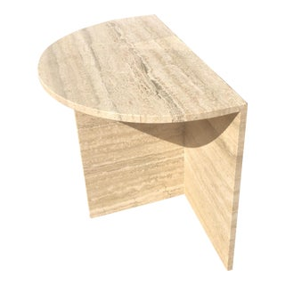 1970s Vintage Modern Travertine Marble Side Table For Sale