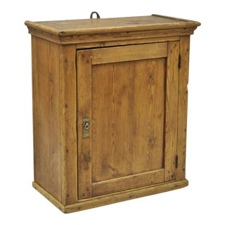Antique Primitive Rustic Pine Wood Wall Hanging Cupboard Pantry Hutch For Sale
