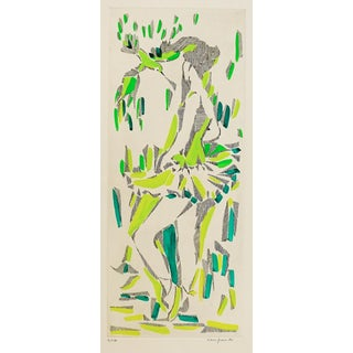1960s Modern Color Etching of Dancer and Bird For Sale