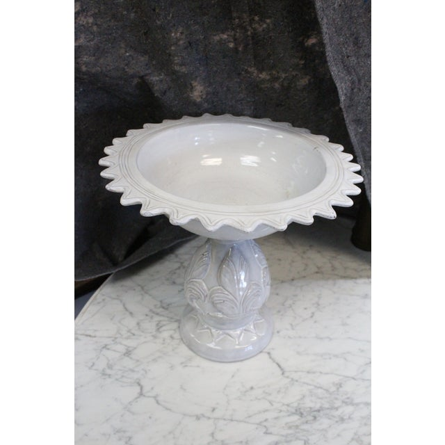 Painted white planter compote with shallow bowl for anything from succulents to ornaments. In starburst pattern.