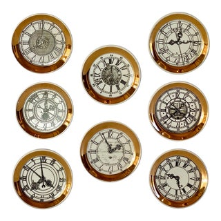 1960s Fornasetti Style Porcelain Clock Coasters - Set of 8 For Sale