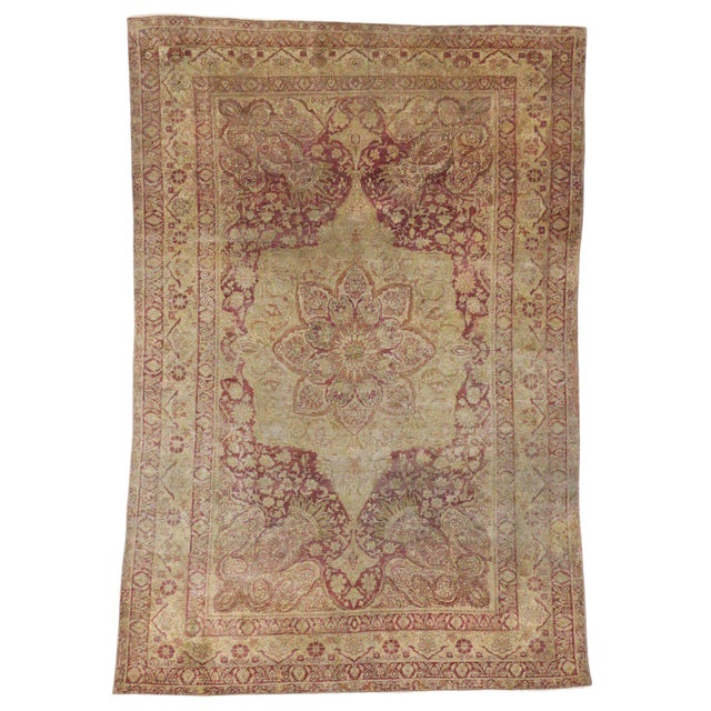 Antique Turkish Hereke Rug with Art Nouveau Style in Muted Colors For Sale