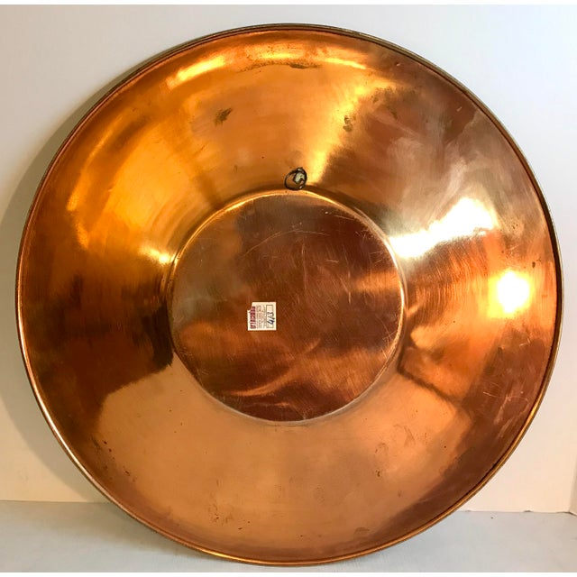 Copper Vintage Etched Copper Platter Wall Hanging For Sale - Image 7 of 9