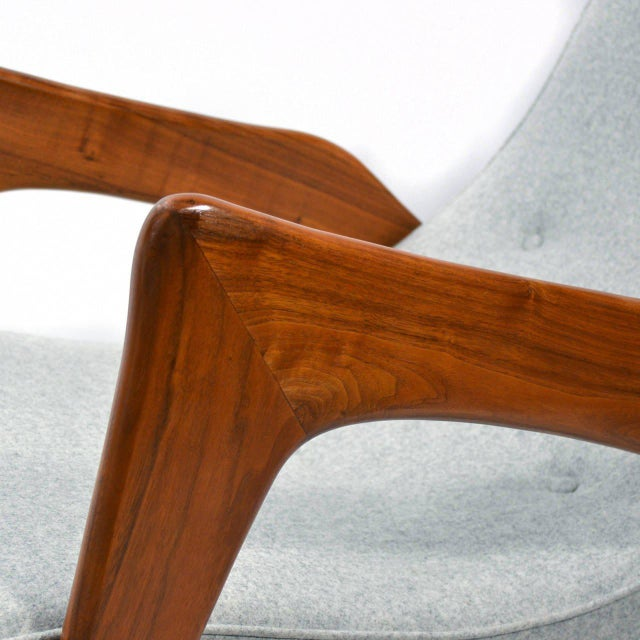 Textile Adrian Pearsall Pair of Crescent Lounge Chairs and Ottomans For Sale - Image 7 of 10