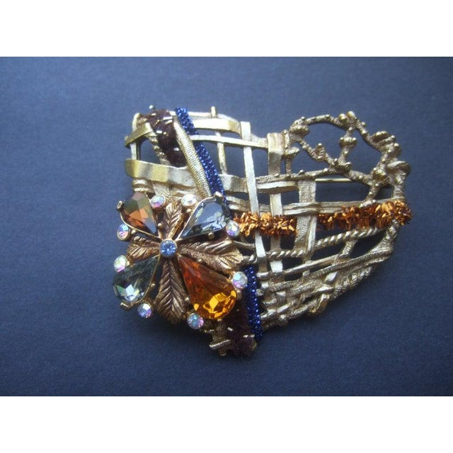 Christian Lacroix Paris Gilt Metal Crystal Heart Brooch For Sale - Image 6 of 6