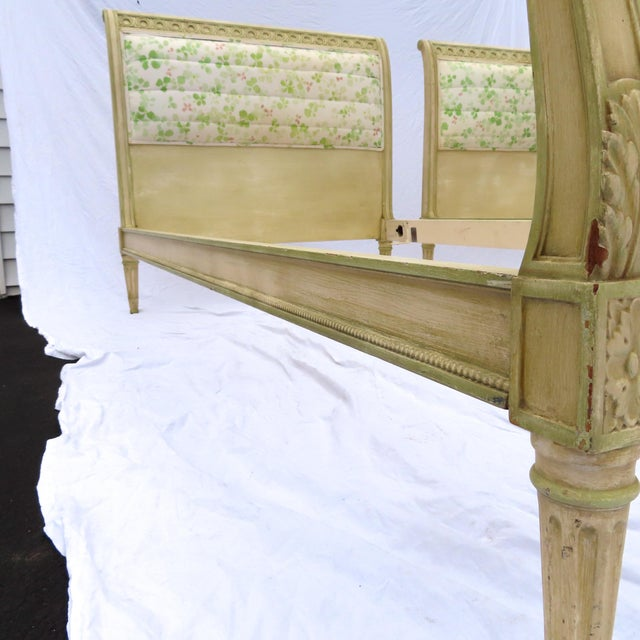 Pair Louis XVI Style Twin Beds Upholstered Headboard Antique Painted Solid Wood For Sale - Image 9 of 13