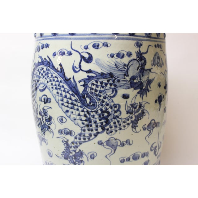 Chinese Blue and White Ceramic Garden Stool For Sale - Image 4 of 10