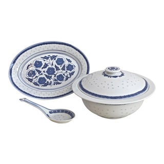 Vintage Riceware Covered Tureen and Serving Platter - Set of 3 For Sale