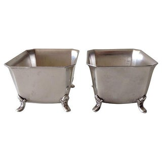 Vintage Silver-Plate Footed Salt Cellars - A Pair For Sale