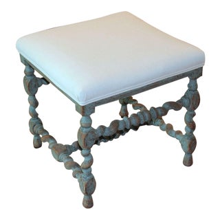Swedish Baroque Period Square Stool, 18th Century Antique For Sale