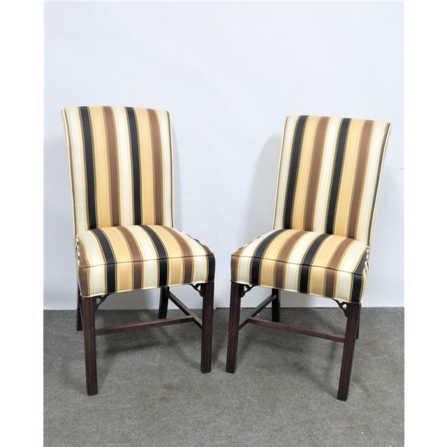 A pair of side chairs made by Statesville Chair Company, Chippendale style solid mahogany Marlboro style legs, stripped...