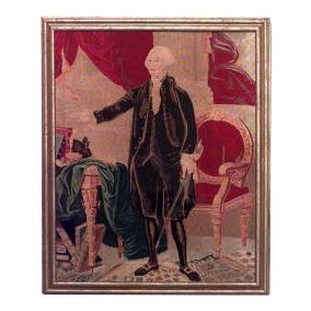 American Country (19/20th Cent) gold framed needlepoint tapestry of full length portrait of George Washington For Sale
