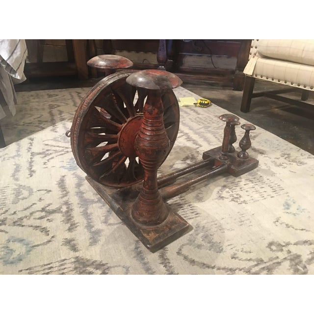Antique Distressed Red Spinning Wheel For Sale - Image 5 of 11