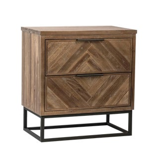 Herringbone Wood & Iron Nightstand For Sale