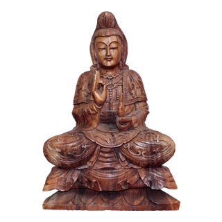 Hand Carved Wood Kwan Yin Statue For Sale