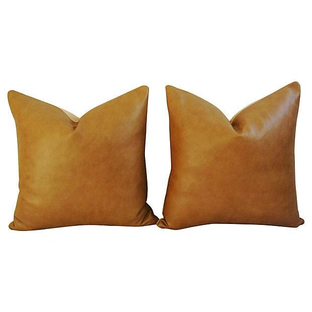 Custom Italian Golden Tan Leather Feather/Down Pillows - a Pair - Image 4 of 5