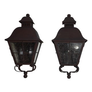 Wall Hanging Brass Lantern - a Pair For Sale