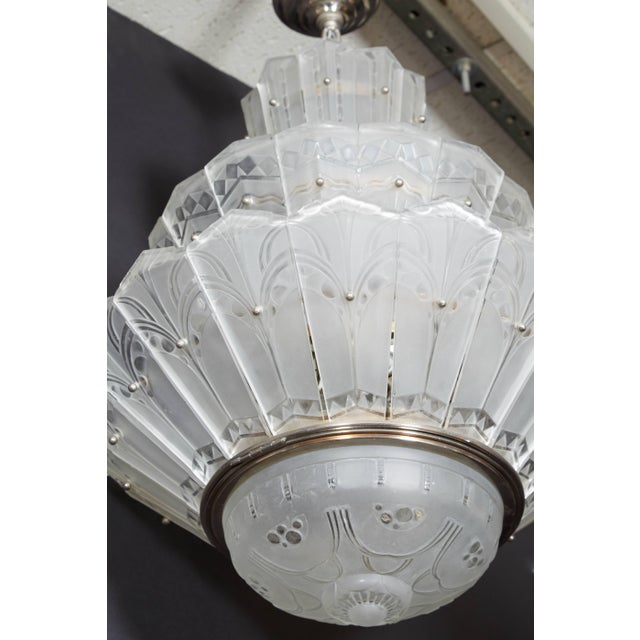 Rare Original French Art Deco Tiered Sabino Chandelier For Sale - Image 10 of 12