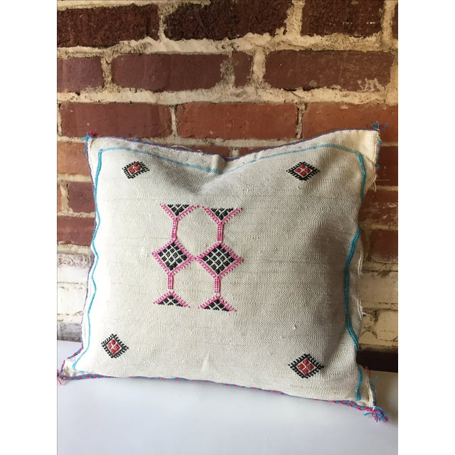 White & Pink Cactus Silk Pillow Cover - Image 3 of 6