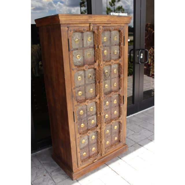 1920s Antique Indian Solid Hand Carved Wood and Iron Clad Armoire For Sale - Image 5 of 9