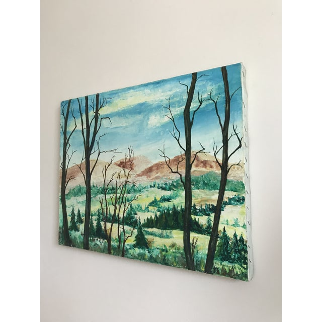 Impressionism Vintage Mountains and Forest Scene Painting For Sale - Image 3 of 5