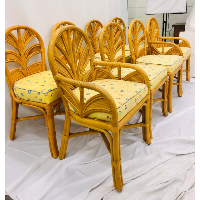 Tan Set of Eight Vintage Bent Rattan Chairs For Sale - Image 8 of 11