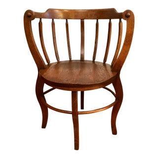 Antique Tiger Oak Round Barrelback Spindle Corner Chair