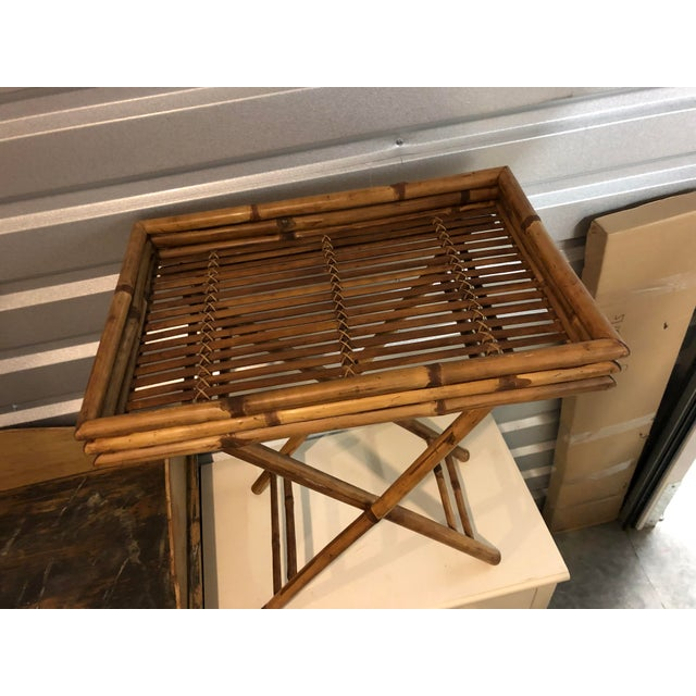 20th Century Boho Chic Bamboo Butler's Tray Table For Sale - Image 4 of 5