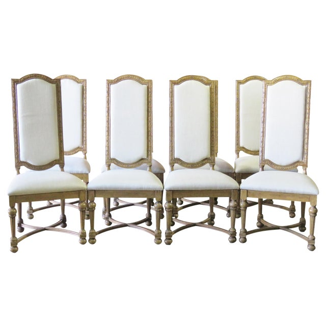 Jonathan Charles Highback Dining Chairs - Set of 8 - Image 1 of 6