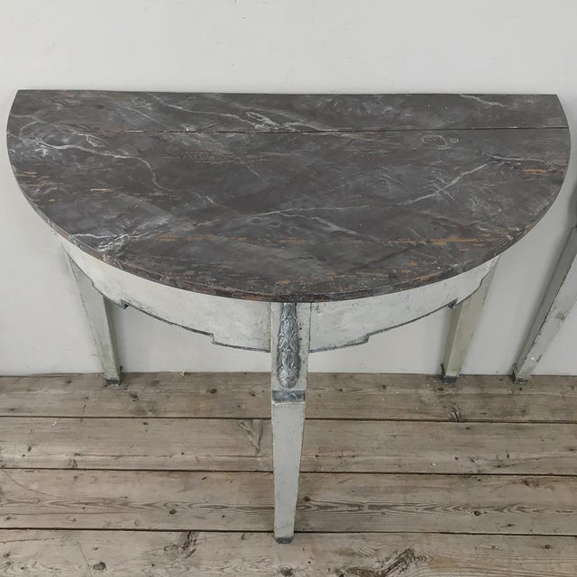 Pair 19th Century Swedish Painted Demilune Consoles For Sale In Dallas - Image 6 of 13