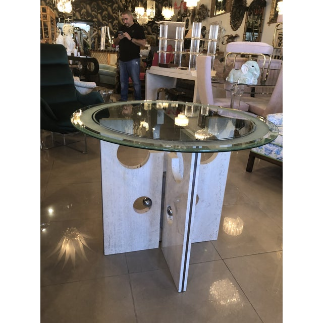 Vintage Modern Marble and Chrome Center or Dining Table For Sale In West Palm - Image 6 of 13