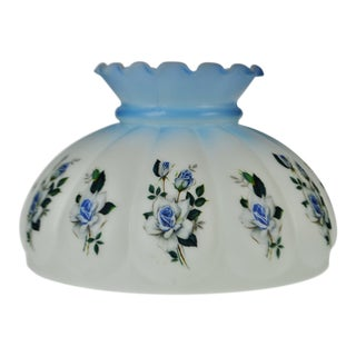 Vintage Hand Painted Glass Oil lampshade For Sale