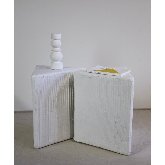 White The Tripp Handmade Fluted Triangle Plaster Table Bases - a Pair For Sale - Image 8 of 10
