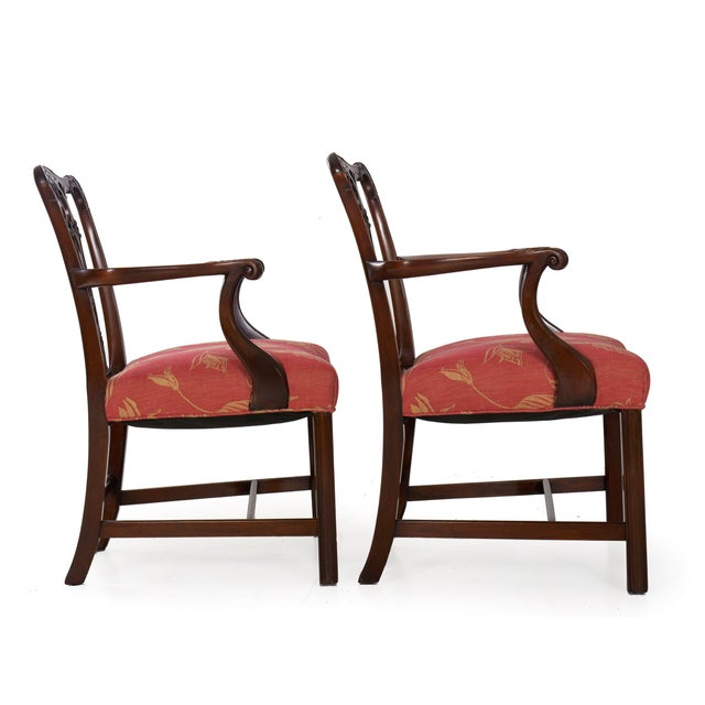 English 20th Century English Antique Carved Mahogany Dining Chairs - Set of 6 For Sale - Image 3 of 13