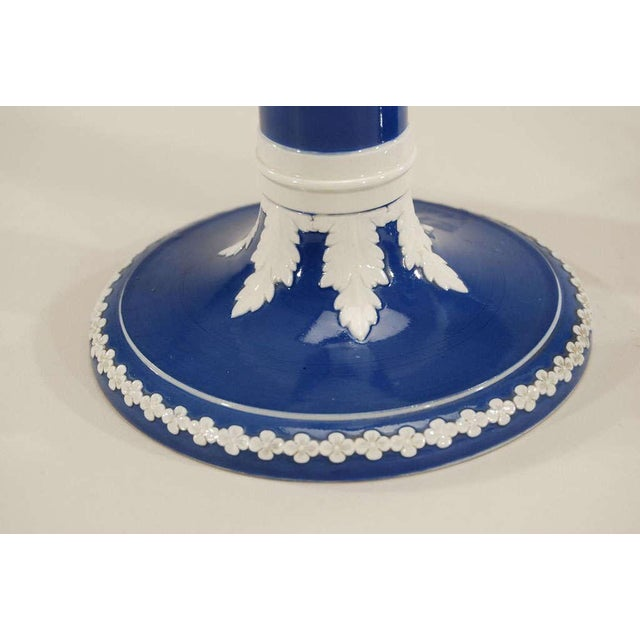 Blue Pair of English Wedgwood-Style Porcelain Candlesticks For Sale - Image 8 of 11