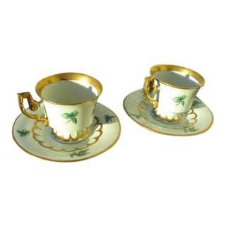 Heinrich Gilded Floral Cups & Saucers- A Pair For Sale