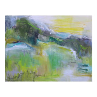 "Trixie Pitts' ""Mountain Morning"" Abstract Landscape Oil Painting"
