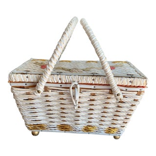 Vintage Shabby Chic Style Wicker Basket With Sewing Accessories and Music For Sale