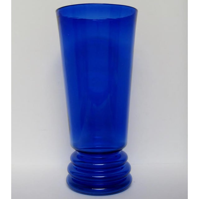 Mid-Century Modern Vintage Cobalt Glass Vase For Sale - Image 3 of 5