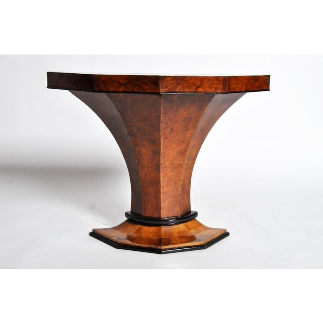 This Art Deco pedestal console table is from Budapest, Hungary and is made from walnut veneers, circa 1930.