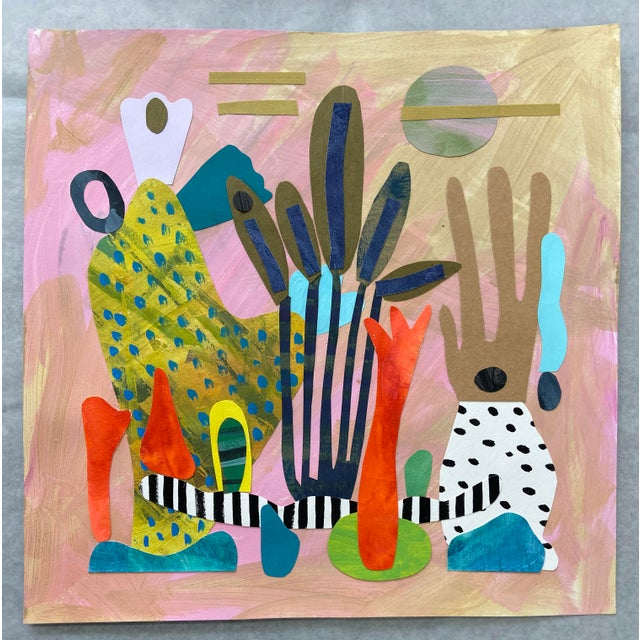 """Abstract """"Coral Reef Garden"""" Collage For Sale - Image 3 of 3"""