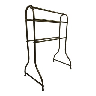 Vintage Hollywood Regency Brass Quilt Rack Stand For Sale