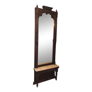 Antique Carved Wood and Marble Entry Mirror For Sale