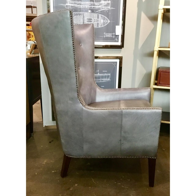 Herndon Aron Wingback Leather Chair - Image 2 of 8