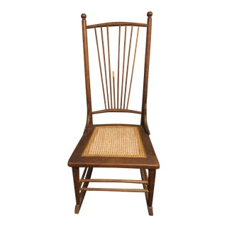 Antique Arts and Crafts Lady's Caned Rocking Chair