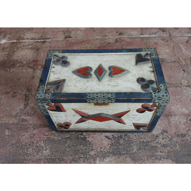 Mid 19th Century 19th Century Americana Painted Trunk For Sale - Image 5 of 10